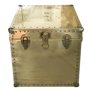 Mid Century Brass Riveted Trunk Side Table