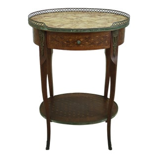 Vintage French Louis XV Highly Inlaid Marble Top End Table For Sale