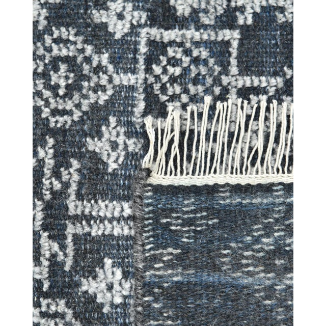 Contemporary Quinn, Contemporary Transitional Hand-Knotted Runner Rug, Navy, 2' 6 X 8 For Sale - Image 3 of 8