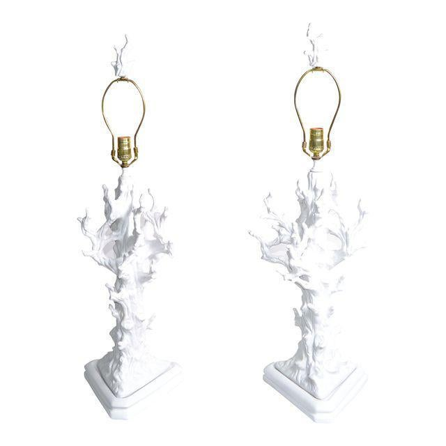 White porcelain tree branches table lamps with matching finials. In perfect working condition and each lamp uses a 60...