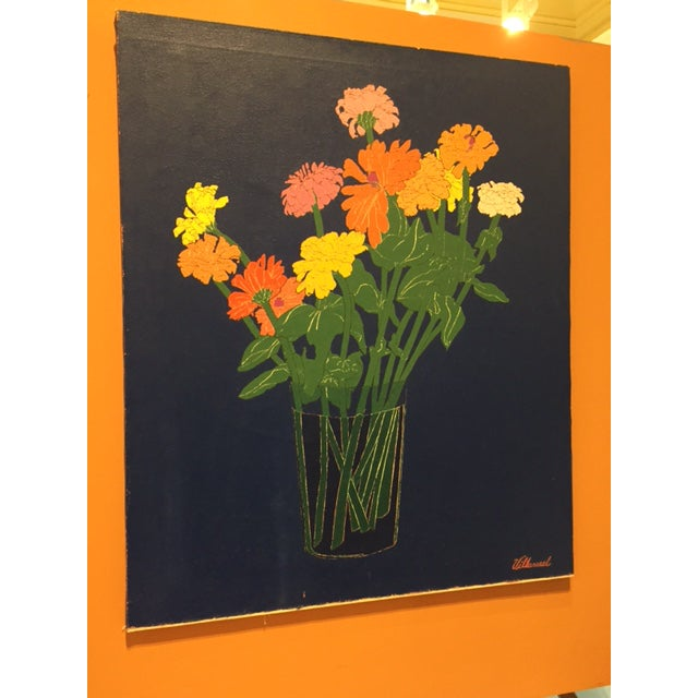 1970s Colorful Zinnias Painting - Image 3 of 6