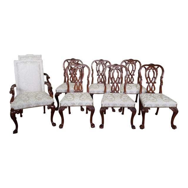 High Top Tier Karges Furniture Mahogany Chippendale Dining Room Chairs - Set of 8 For Sale