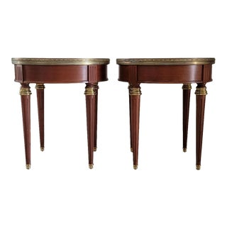 Louis XVI Round Marble Top Bouillotte Side Tables From Plaza Hotel From New York City - a Pair For Sale