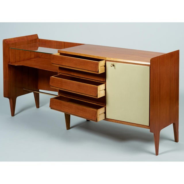 Gio Ponti Gio Ponti Exceptional Asymmetric Mahagony Cabinet For Sale - Image 4 of 10