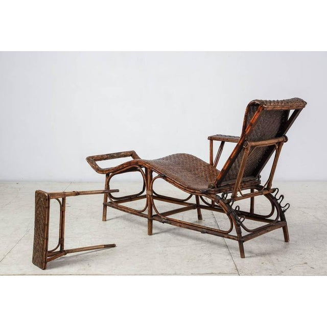 1920s Adjustable Bamboo and Rattan Garden Chaise, Germany, 1920s-1930s For Sale - Image 5 of 10