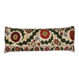 1980s Asian Hand Embroidered Silk Suzani Pillow For Sale