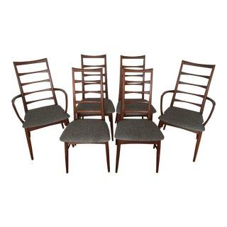 "1960s Vintage Niels Koefoed for Koefoed Hornslet Teak ""Lis"" Dining Chairs- Set of 6 For Sale"