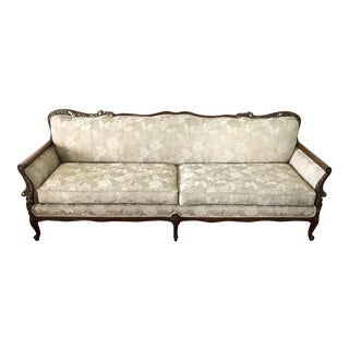 Antique Louis XV Style Three Seat Upholstered Traditional French Sofa Settee For Sale
