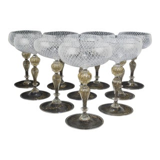 Venetian or Murano Glass Reticulo Filigrana Decorated Champagne Coupes - Set of 10 For Sale