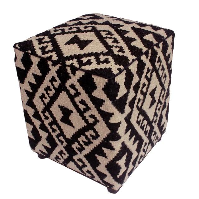 Arshs Dierdre Ivory/Black Kilim Upholstered Handmade Ottoman For Sale
