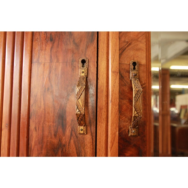 Brown Vintage French Art Deco Burl Wood Mirrored Front Knockdown Wardrobe For Sale - Image 8 of 11