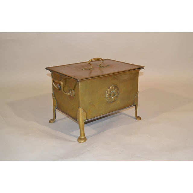 Arts & Crafts Antique English Arts & Crafts Brass Wood Box For Sale - Image 3 of 3
