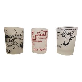 """Vintage Hazel Atlas """"Say When"""" Whiskey Shot Glasses - Set of 3 For Sale"""