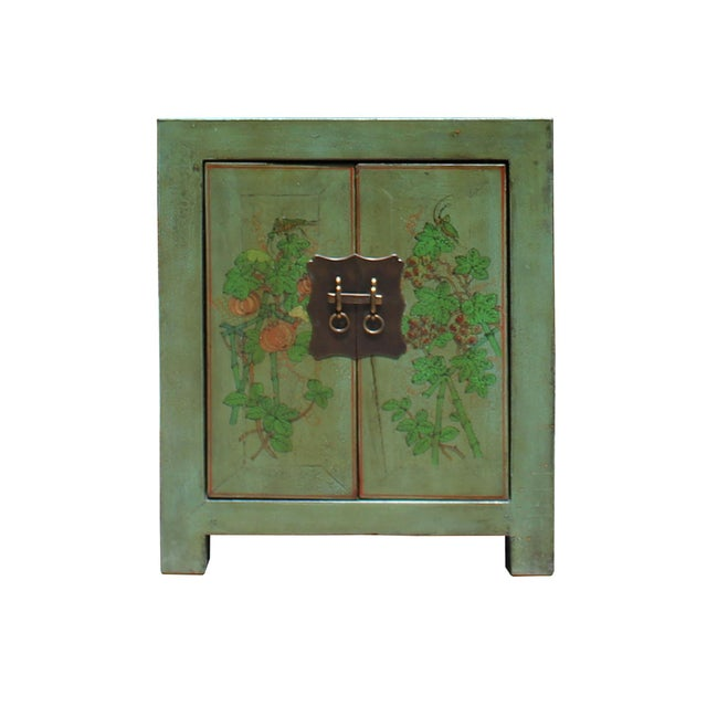 Green Distressed Grass Green Lacquer Graphic Side End Table Nightstand For Sale - Image 8 of 8