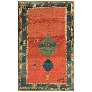 Mansour Original Handmade Persian Gabbeh Rug - 4′10″ × 7′ For Sale