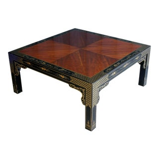 Drexel Et Cetera Black Lacquered Chinoiserie Coffee Table For Sale