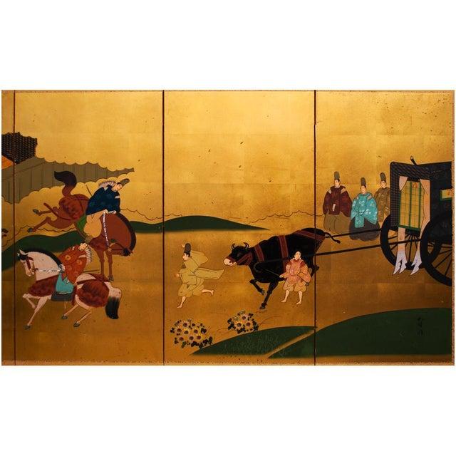 "Asian Shōwa Era ""The Tale of Genji"" Gold-Leaf Japanese Byobu Screen For Sale - Image 3 of 13"