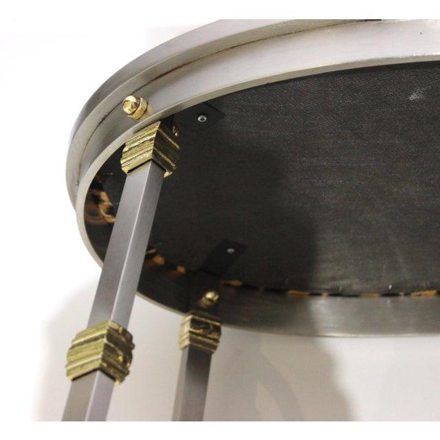 Vintage Maison Jansen Style Oval Stool Polished Steel & Brass Leopard Upholstery For Sale - Image 11 of 13
