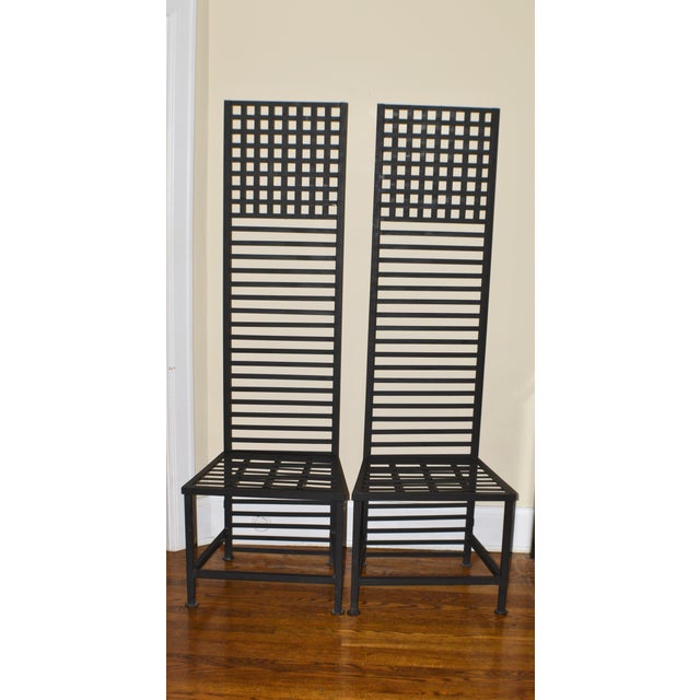 Metal 1990s Vintage Brutalist Metal Chairs- A Pair For Sale - Image 7 of 7