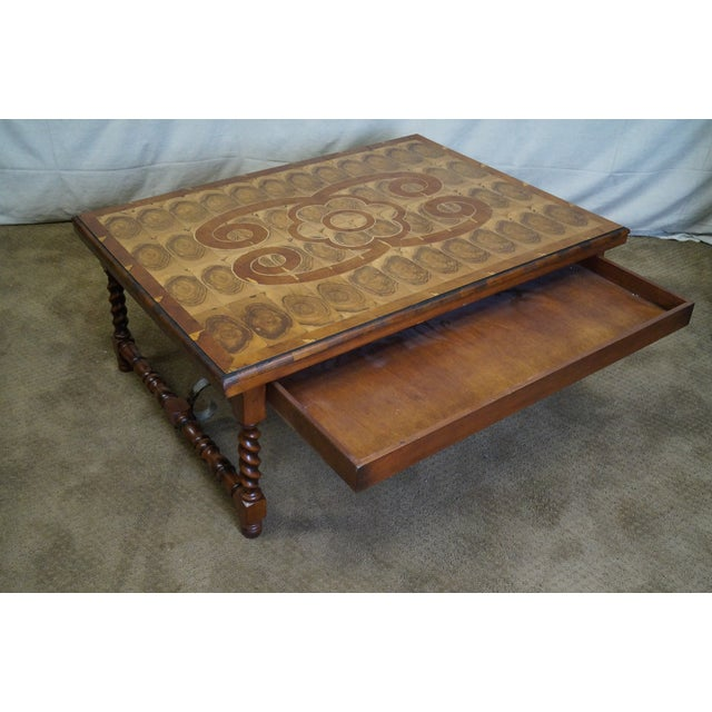Quality English Oyster Wood Large Coffee Table - Image 4 of 9