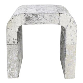 Modern Forest Collection Silver Cowhide Side Table For Sale