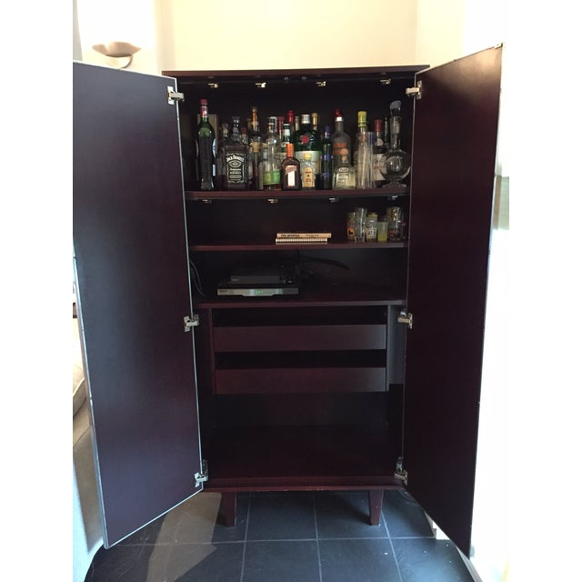 Dialogica Custom Stainless & Mahogany Dialogica TV Cabinet For Sale - Image 4 of 11