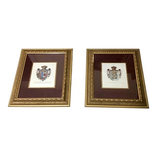 17th Century Style French Soldier Family Crest Coat of Arms a Pair For Sale