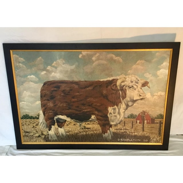 This impressive painting shows a Hereford bull grazing in a field. His wonderful expression is artfully captured. The...