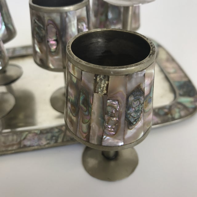 Mexican Abalone & Silver Cordial Set - 7 Pieces - Image 5 of 6