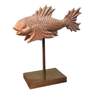 1960's Vintage Italian Terra Cotta & Brass Fantastical Fish Ornament For Sale