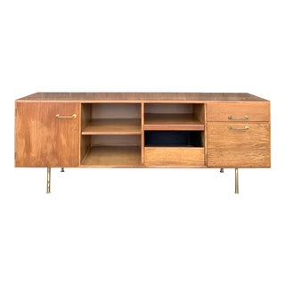 1960s Mid-Century Modern Jens Risom Walnut and Brass Credenza For Sale