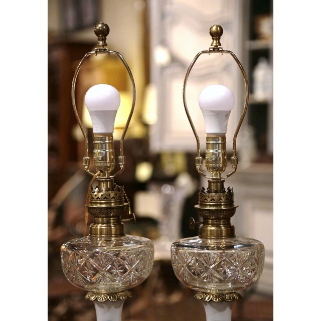 Pair of 19th Century French Porcelain, Bronze, Brass and Cut Glass Table Lamps For Sale - Image 4 of 12