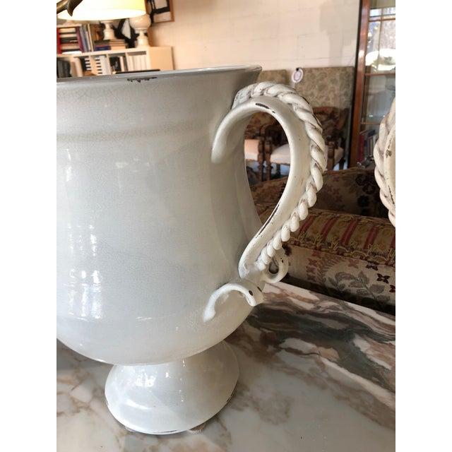 Ceramic Fortunata Italian Ceramic White Urns - a Pair For Sale - Image 7 of 13