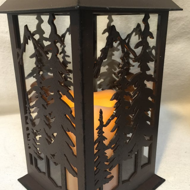 Metal & Glass Forest Silhouette Lanterns - A Pair - Image 6 of 10