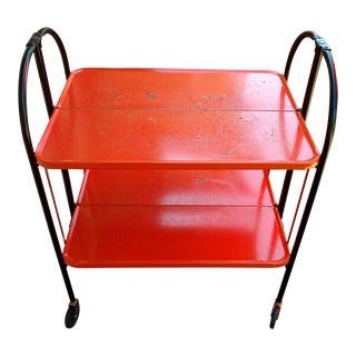 Vintage Orange Baked Enamel Folding Rolling Cart For Sale