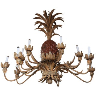 Enormous Tole Pineapple Chandelier