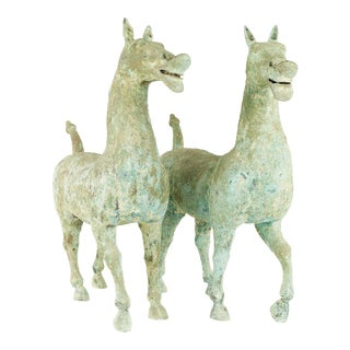 Han Dynasty Style Mid Century Terracotta Horse - Pair For Sale