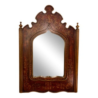 1900s Gothic Indian Carved Wooden Mirror For Sale
