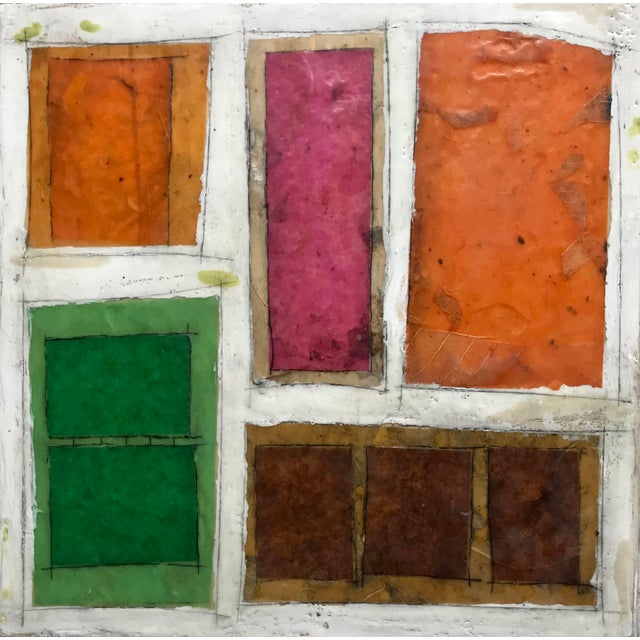 "Contemporary Gina Cochran ""Necessity of Play No. 6"" Encaustic Collage Painting For Sale - Image 3 of 9"