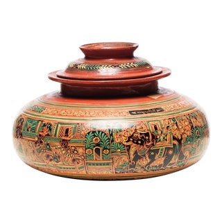 Antique Burmese Lacquer Urn Jar For Sale