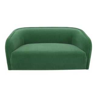 Post Modern Barrel Back Settee in Green Mohair For Sale
