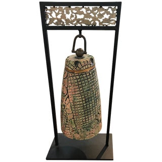 Unique Tony Evans Ceramic Bell on Iron Stand For Sale