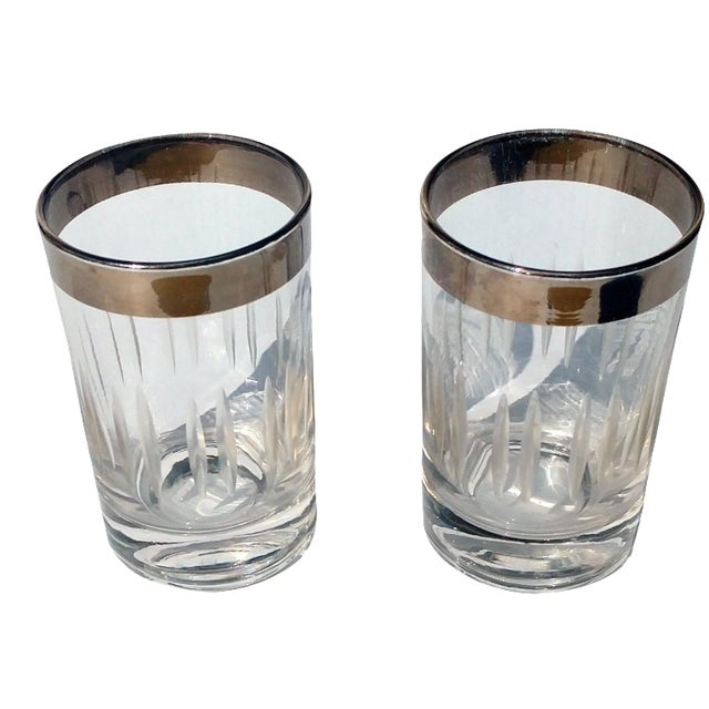 Silver-Rim Cut-Crystal Shot Glasses - A Pair - Image 1 of 6