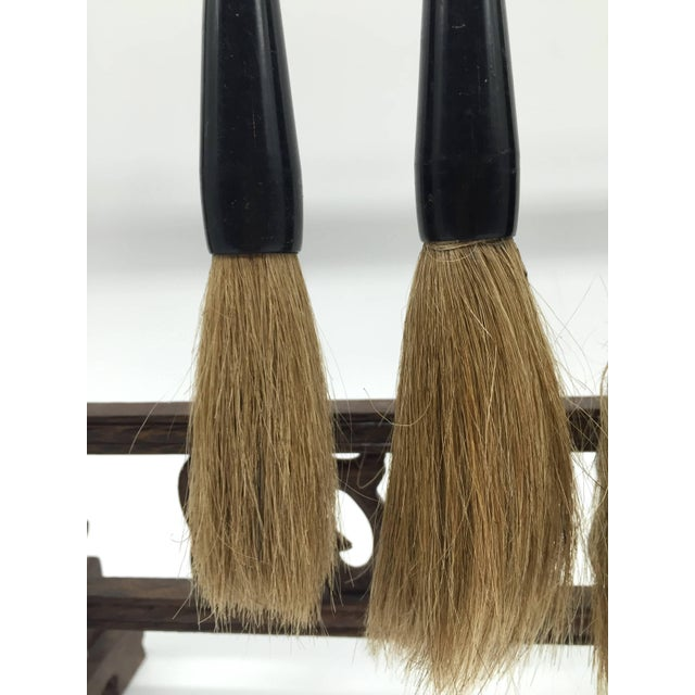 2010s Chinese Brush and Stand, Set of Five For Sale - Image 5 of 11