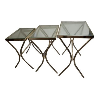 Mid Century Faux Bamboo Gold Nesting Tables - Set of 3 For Sale