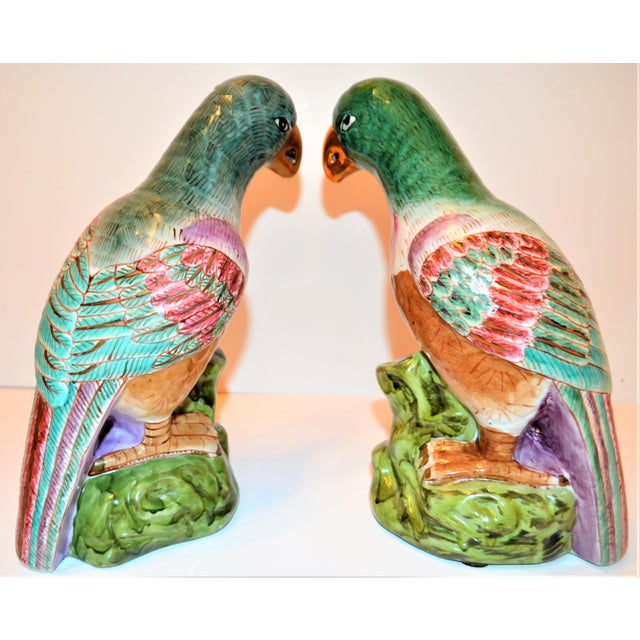 (Final Markdown) Green Majolica Parrot Figurines - a Pair For Sale - Image 9 of 12