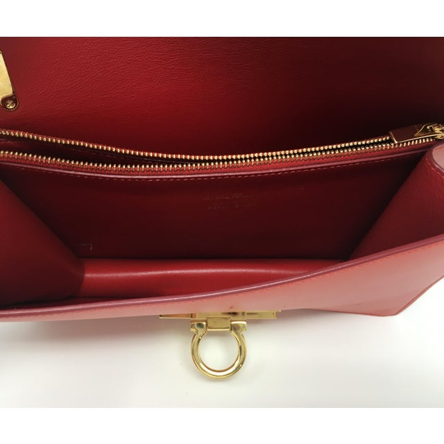 Beautiful Rouge Box Leather Salvatore Ferragamo Top Handle or Cross Body Bag For Sale - Image 10 of 12