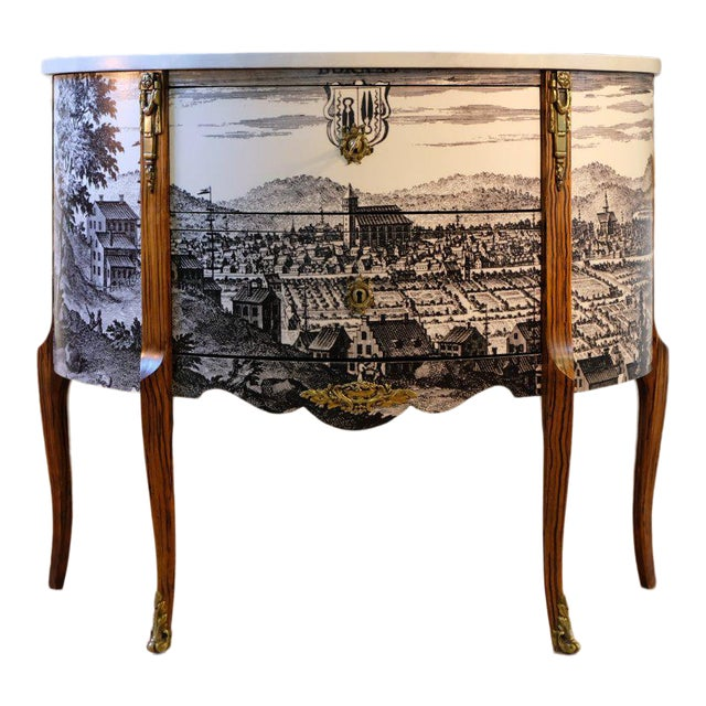 Antique Gustavian Bureau With Black & White Landscape (DaVinci Collection) For Sale