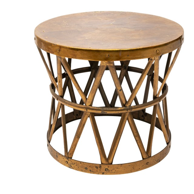Hollywood Regency Brass Drum Table For Sale