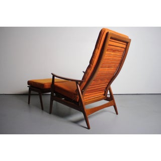 Lounge Chair With Matching Ottoman in Walnut Attributed to Milo Baughman Preview